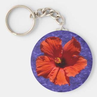 Pretty Hibiscus Flower Basic Round Button Keychain