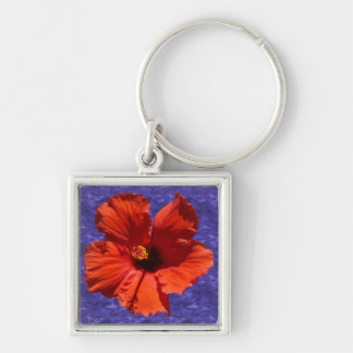 Pretty Hibiscus Flower Silver-Colored Square Keychain