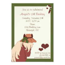 Pretty Holiday Horse with Hat Birthday Invitation