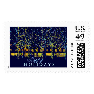 Pretty Holiday Lights in the City Postage Stamps