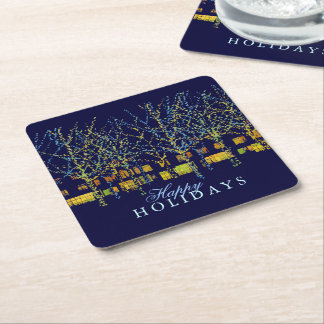 Pretty Holiday Lights Square Paper Coaster
