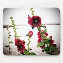 Pretty Hollyhock Floral Mouse Pad