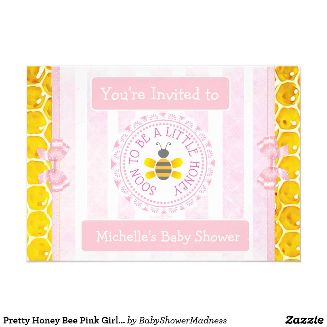 Pretty Honey Bee Pink Girl's Baby Shower Invites