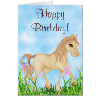 Pretty Horse and Butterflies Happy Birthday Card