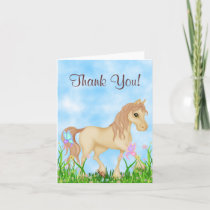 Pretty Horse and Butterflies Thank You Card