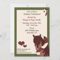 Pretty Horse and Candy Cane Holiday Party Invite