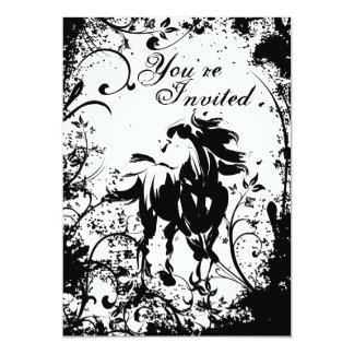 Pretty Horse and Flowers Birthday Invitation