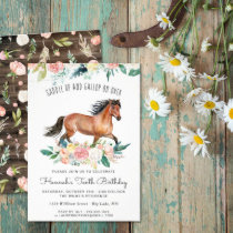 Pretty Horse and Flowers on Rustic Wood Birthday Invitation
