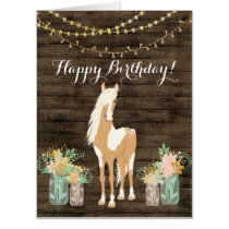 Pretty Horse and Flowers Rustic Wood BIG Birthday Card
