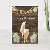 Pretty Horse and Flowers Rustic Wood Birthday Card