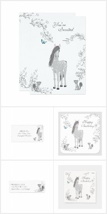 Pretty Horse and Flowers Woodland Birthday Set