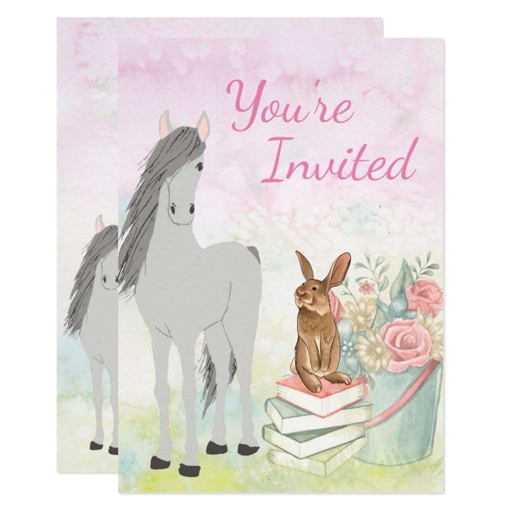 Pretty Horse, Bunny, Flowers and Books Birthday Invitation