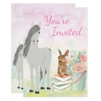 Pretty Horse, Bunny, Flowers and Books Birthday Invitation