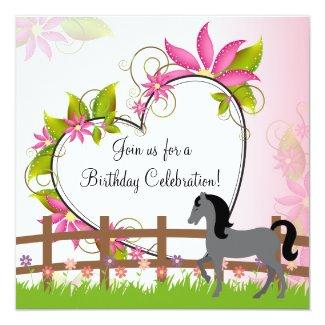 Pretty Horse Flowers and Heart Birthday Invitation