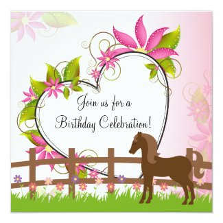 Pretty Horse Flowers and Heart Birthday Invitation