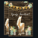 "Pretty Horse, Flowers, Rustic Wood Birthday Invite<br><div class=""desc"">This birthday party invitation design for girls features a pretty palomino paint pony. She is standing among arrangements of pretty flowers in charming mason jars. There is a rustic barn wood background decorated with strings of delicate flowers and a pretty golden bunting banner with flowers. This invitation can be personalized...</div>"
