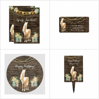 Pretty Horse, Flowers Rustic Wood Birthday Set