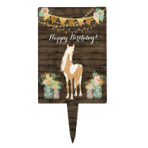 Pretty Horse, Flowers Rustic Wood Happy Birthday Cake Topper