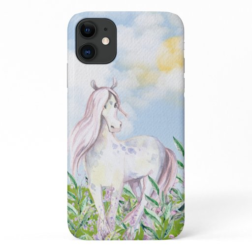 Pretty Horse in Field of Flowers iPhone 11 Case