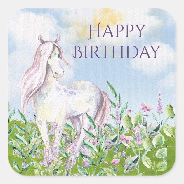 Pretty Horse In Field Of Flowers Happy Birthday Square Sticker Zazzle Com