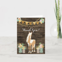 Pretty Horse n Flowers Rustic Wood Thank You Card