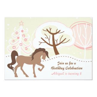 Pretty Horse Snowy Winter Girls Birthday Party Card