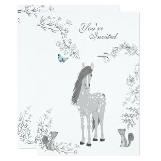 Pretty Horse, Squirrels, Flowers Woodland Birthday Invitation