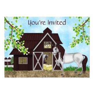 Pretty Horses and Barn Birthday Invitation Girls