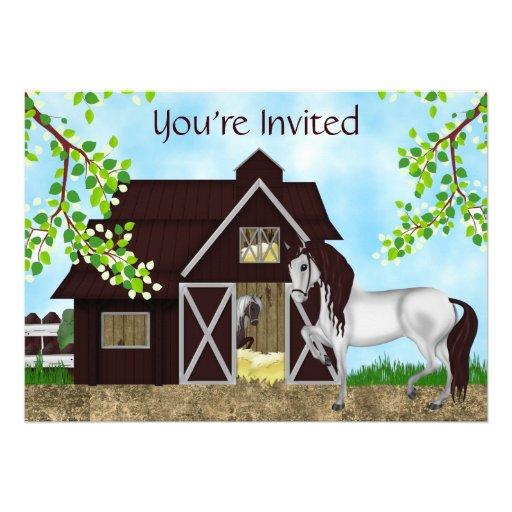 Pretty Horses and Barn Birthday Invitation ~ Girls