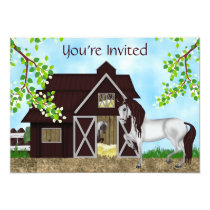 Pretty Horses and Barn Girls Birthday Invitation