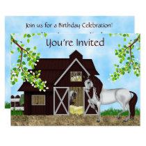 Pretty Horses, Barn and Trees Birthday Party Invitation