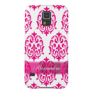 Pretty hot pink and white personalized damask galaxy s5 cover
