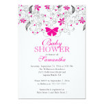 Pretty Hot Pink Butterfly Baby Girl Baby Shower 5x7 Paper Invitation Card