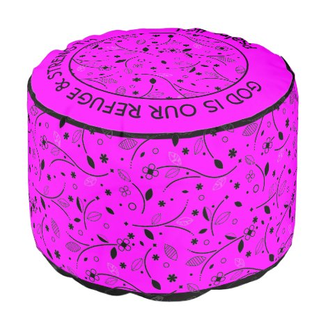 Pretty HOT PINK | Floral Print | REFUGE & STRENGTH Pouf