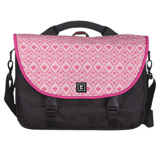 Pretty Hot Pink Flower with Diamond Scroll Pattern Commuter Bags