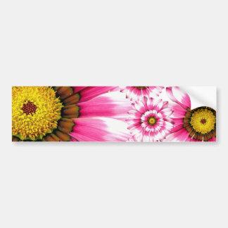 Pretty Hot Pink Fuchsia Flower Kaleidoscope Design Bumper Sticker
