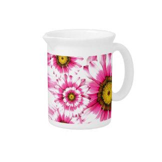 Pretty Hot Pink Fuchsia Flower Kaleidoscope Design Drink Pitchers