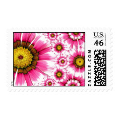 Pretty Hot Pink Fuchsia Flower Kaleidoscope Design Stamps