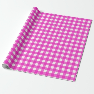 Pretty Hot Pink Gingham Checked Pattern