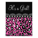 Pretty Hot Pink Leopard Baby Shower Card