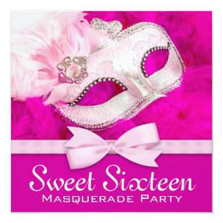 Pretty Hot Pink Masquerade Party Card