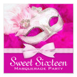 Pretty Hot Pink Masquerade Party Personalized Announcements