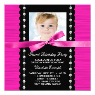 Pretty Hot Pink Photo 2nd Birthday Party Invite