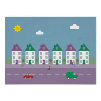 Pretty Houses, People, Pets & Traffic Poster