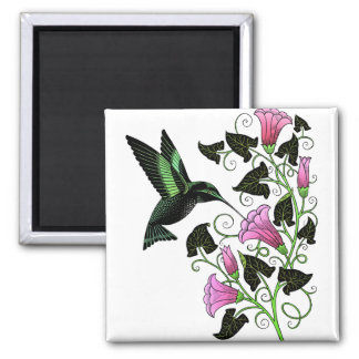 Pretty Hummingbird and Flowers 2 Inch Square Magnet