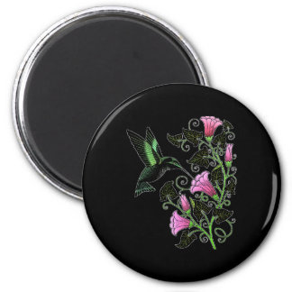 Pretty Hummingbird and Flowers Magnets