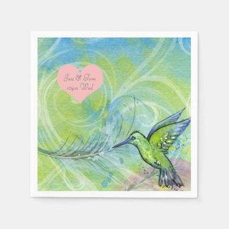 Pretty Hummingbird Feather Watercolor personalized Paper Napkin