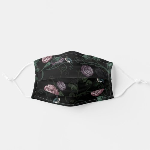 Pretty Hummingbird Flower Vine Pink Roses On Black Cloth Face Mask