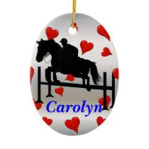 Pretty Hunter Jumper Horse & Rider Ceramic Ornament