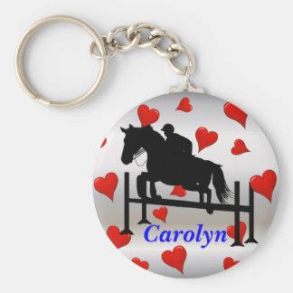 Pretty Hunter Jumper Horse & Rider Keychain